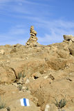 Summit cairn in Negev desert. Stock Images