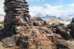 The summit cairn Trigpoint Royalty Free Stock Photography