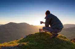 Summit Camping, Fleetwith Pike. Royalty Free Stock Photo