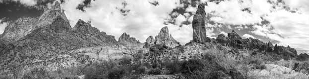 Summit Canyon in the Kofa Wilderness Black and White Panorama. Panorama of Summit Canyon in the Kofa Mountains Wilderness in Yuma County near Quartzite Arizona stock photography