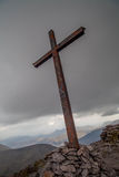 Summit of Carrauntoohil. The Christian cross on the summit of Carrauntoohil, the highest peak in Ireland on McGillycuddy Reeks Mountains, County Kerry, Ireland Royalty Free Stock Photos