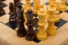 Summit on Chessboard. Of Top Leaders Royalty Free Stock Images