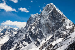 Summit Cholatse and Tabuche Peak. Himalayas. Nepal Stock Photo