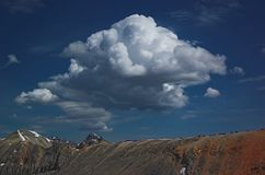 Summit cloud over imogene pass. Imogene Pass @13,000' with cumulus cloud developing over the Sneffles Massif on warm July day in the San Juan mountain range Royalty Free Stock Images