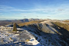 Summit of Coniston Old Man in Winter Royalty Free Stock Photo