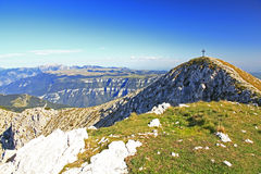 Summit Cross. On the Punta Telegrafo (2200m), Monte Baldo, Alps, Italy Royalty Free Stock Photography