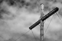 Summit Cross. Displaying Roman Emperor Constantine the Great's phrase 'In hoc signo vinces' (In this sign you will conquer) in German (In diesem Zeichen wirst Royalty Free Stock Images