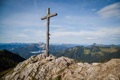 Summit cross. In the Bavarian Alps Stock Images