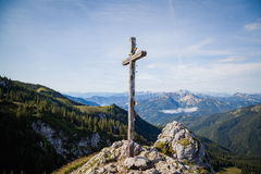 Summit cross. In the Bavarian Alps Royalty Free Stock Image