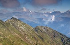 Summit cross in Carnic Alps, Sillian, Puster valley, Austria Royalty Free Stock Photos