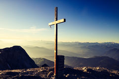 Summit cross on Hochkoenig mountain - Berchtesgaden Alps, Austria Stock Photo