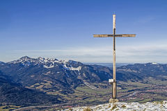 Summit cross in Isarwinkel Royalty Free Stock Photos