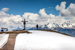 Summit cross on the Kronplatz Royalty Free Stock Image