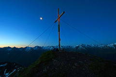Summit cross in morning Stock Images