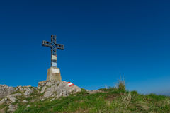 Summit cross a mountain Stock Photography