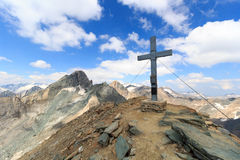 Summit cross on mountain Saulkopf and glacier panorama, Hohe Tauern Alps, Austria Stock Images