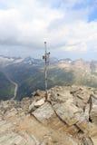 Summit cross on mountain Wildenkogl with panorama, Hohe Tauern Alps, Austria Stock Photo