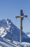 Summit cross and mountain Zugspitze Stock Images