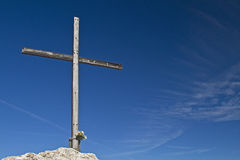 Summit cross on the stone witch Royalty Free Stock Images