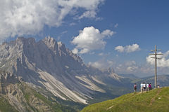Summit Cross in Valle di Funes stock photography
