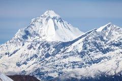 Summit of Dhaulagiri, Annapurna Circuit, Mustang, Nepal. Summit of mount Dhaulagiri from Thorong La Pass on Round Annapurna trek, Annapurna Circuit, Mustang Royalty Free Stock Image