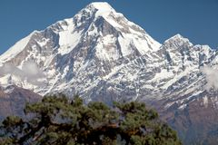 Summit of Dhaulagiri. From Jaljala La, Dhaulagiri Himal, Nepal Stock Photos