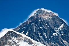 The summit of Everest mountain stock photo