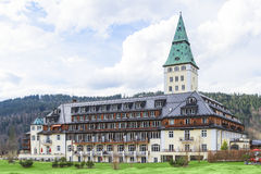 Summit G8 will be held in summer 2015 at Schloss Elmau. Klais, Germany - April 26, 2015: The meeting of leaders from the world top eight economic powers Summit Royalty Free Stock Photo