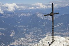 Summit in the Gardasee mountains. Small summit cross on the Altissimo in the Monte Baldo area Stock Images