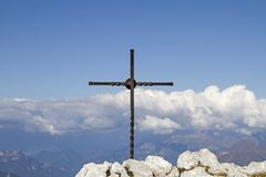 Summit in the Gardasee mountains. Small summit cross on the Altissimo in the Monte Baldo area Royalty Free Stock Photos