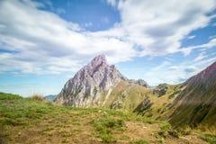 Summit of gehrenspitze at mountain chain hahnenkamm Stock Photos