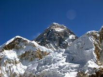 Summit of the Himalayas Mount Everest. In Nepal stock photo