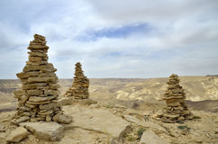 Summit Ido cairns in Negev desert. Royalty Free Stock Images
