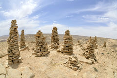 Summit Ido cairns in Negev desert. Royalty Free Stock Photo