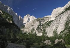 Summit of Jalovec in Julian Alps Royalty Free Stock Images