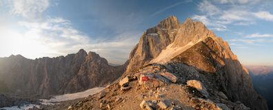 Summit of Jalovec in Julian Alps Stock Photo