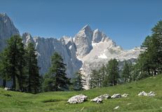 Summit of Jalovec in Julian Alps Stock Image