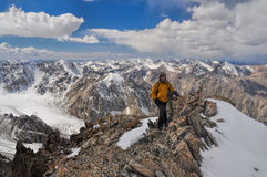 On summit in Kyrgyzstan Royalty Free Stock Image