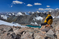 On summit in Kyrgyzstan Royalty Free Stock Photos