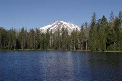 Summit Lake. And Lassen Peak at Lassen Volcanic National Park royalty free stock photo