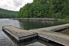 Summit Lake Pier. Pier at Summit Lake in the Monongahela National Forest in southern West Virginia Stock Photo