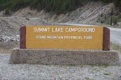 Summit Lake Sign Alaska Highway Canada Stock Photo