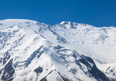 The summit of Leinin peak, view from camp 2, Pamir mountains Stock Photo