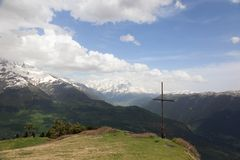 Summit marked with cross. Upper Svaneti. Georgia Royalty Free Stock Photo