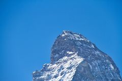 Matterhorn. The summit of the Matterhorn in Alps and covered with snow Stock Photos