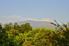 Summit of Mount Etna, Sicily. Distant View of Mount Etna with Gases emanating, Sicily Stock Photo