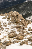 Summit of Mount Evans - Colorado. Summit of Mt Evans. Mount Evans is one of the top travel vacation spots in the USA featuring the highest paved road in the stock photos