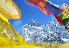 Summit of mount Everest or Chomolungma. Highest mountain in the world, view from Kala Patthar,Nepal royalty free stock photos