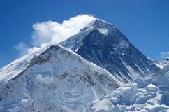 Summit of mount Everest or Sagarmatha,Nepal. Summit of mount Everest or Sagarmatha - highest mountain in the world, view from Kala Patthar on sunny day,Nepal Royalty Free Stock Image