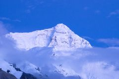 Mount Everest. Summit of Mount Everest seen from the Tibetan Base Camp stock photography